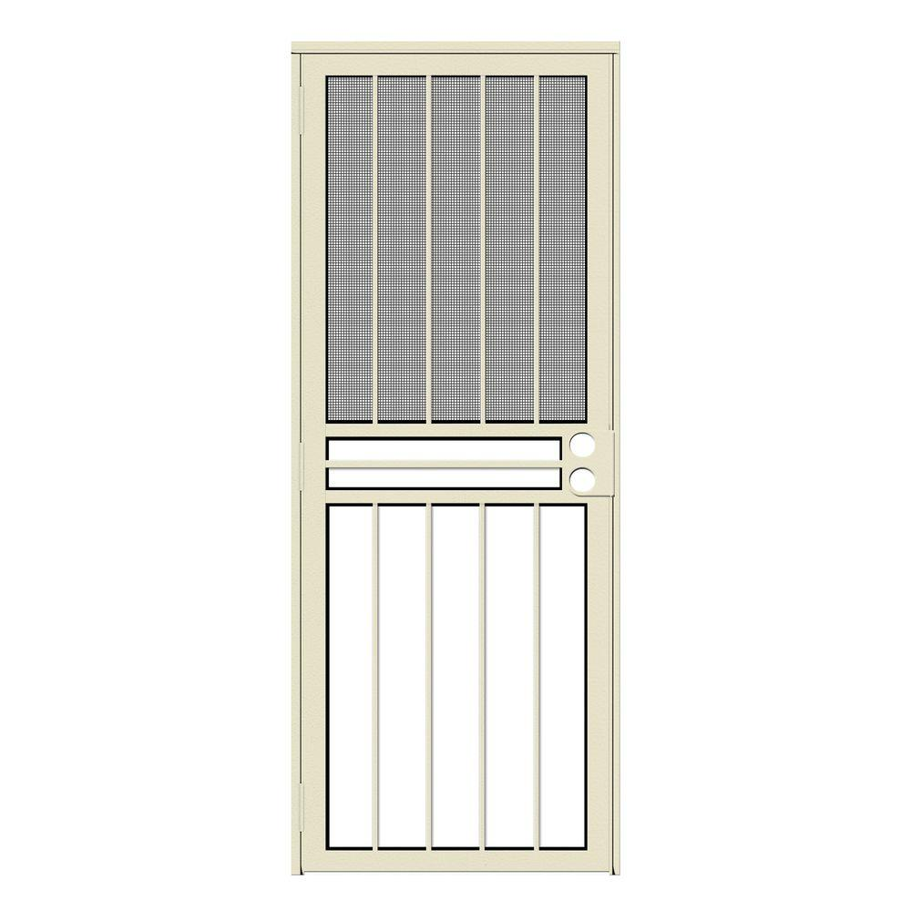 Unique Home Designs 30 in. x 80 in. Paladin Almond Recessed Mount All Season Security Door with Insect Screen and Glass Inserts