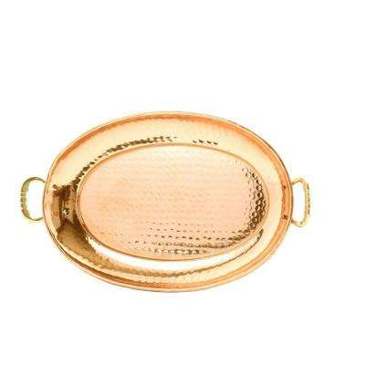 17 in. x 13 in. Oval Decor Copper Tray with Cast Brass Handles
