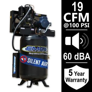 EMAX Industrial Series 80 Gal. 5 HP 1-Phase Silent Air Electric Air Compressor by EMAX
