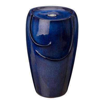 20.5 in. H Outdoor Cobalt Blue Ceramic Floor Fountain with Pump and LED Light