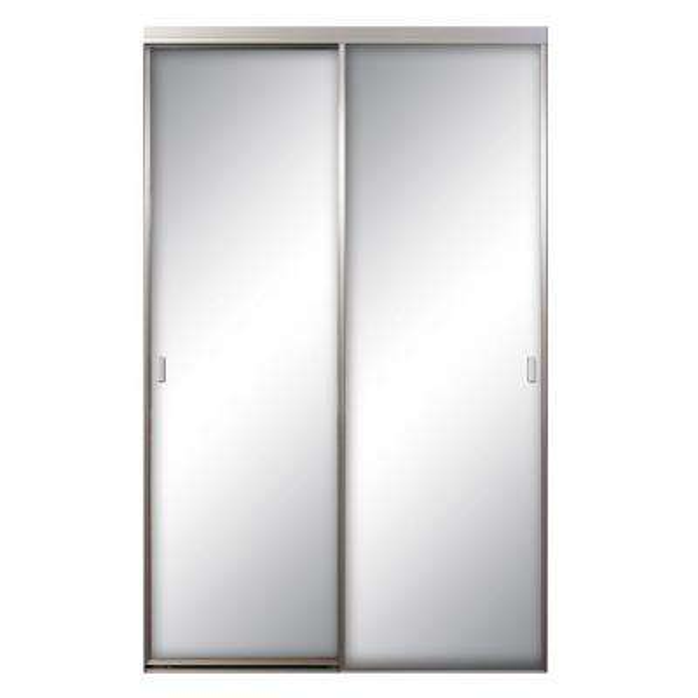 Asprey 60 in. x 96 in. Mirror Brushed Nickel Aluminum Interior Sliding Door