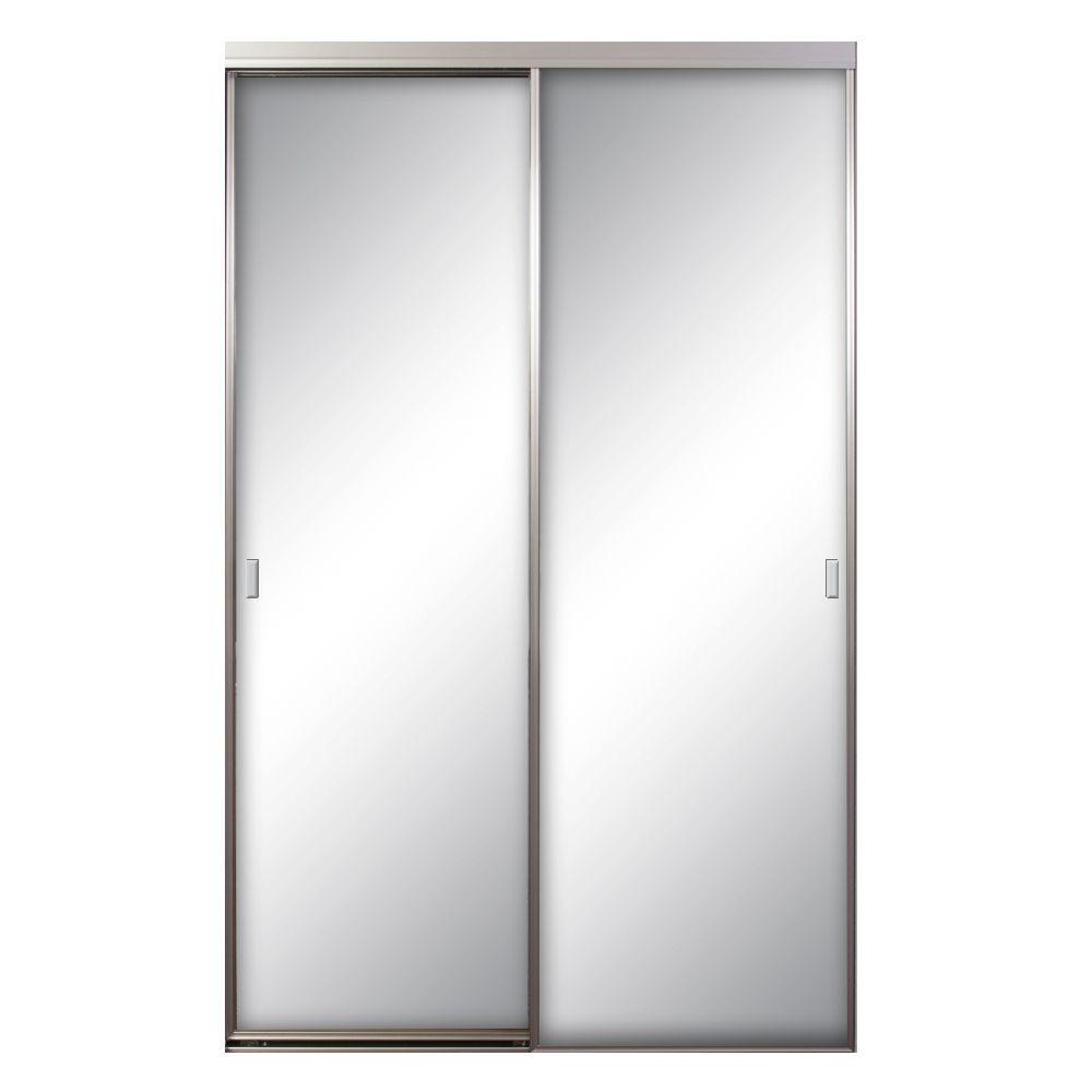 Asprey 96 in. x 81 in. Mirror Brushed Nickel Aluminum Interior Sliding Door