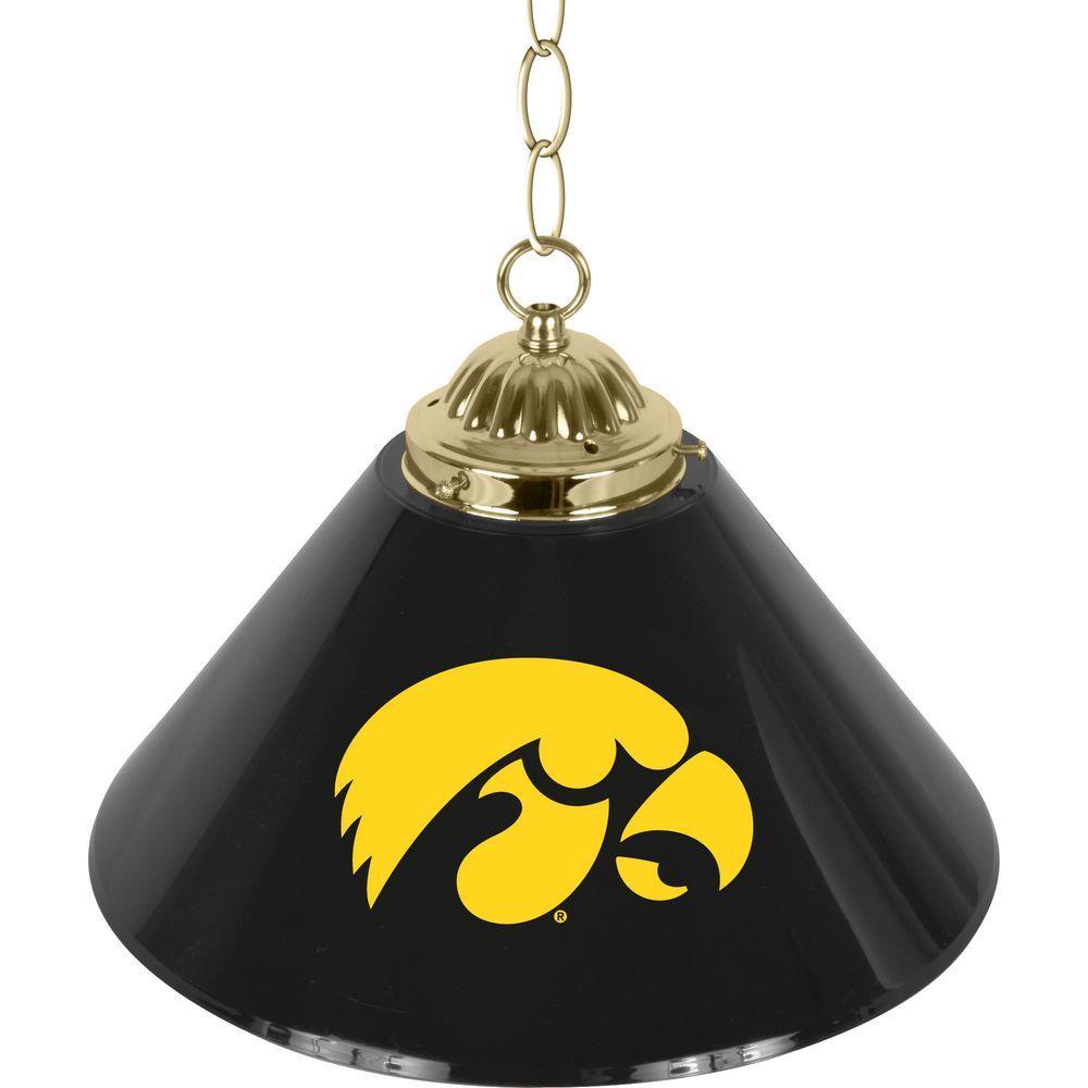 University of Iowa 14 in. Single Shade Black Hanging Lamp
