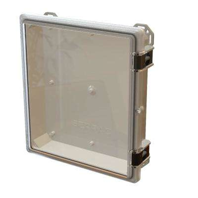Nema 4x I602 Hinged Latch Top 17.8 in. L x 16.3 in. W x 4.2 in. H Polycarbonate Electronic Cabinet Enclosure Clear/Gray