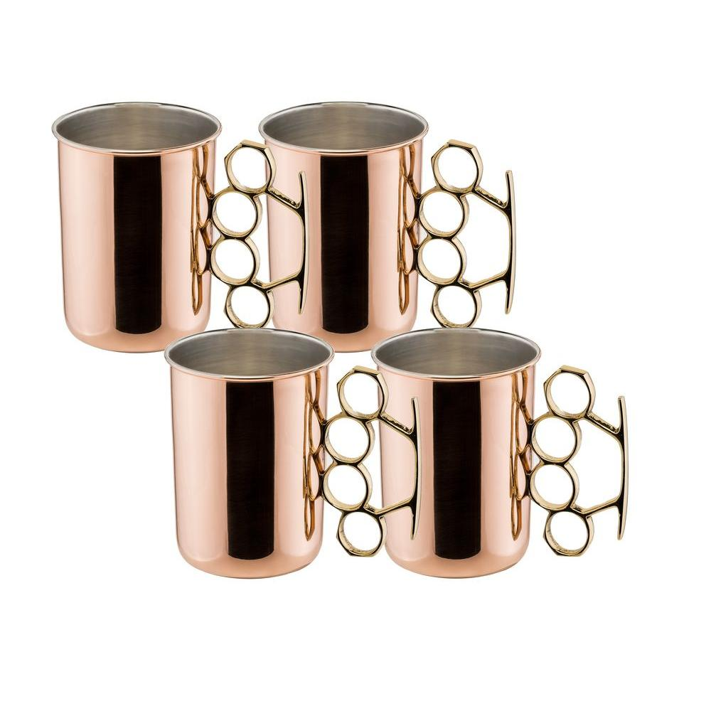 20 oz. Brass Knuckle Moscow Mule Mug in Nickel Lined and