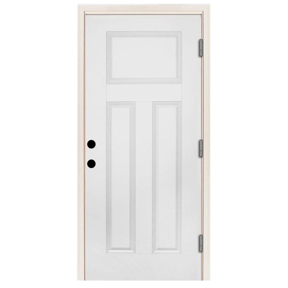 Steves & Sons 36 in. x 80 in. Premium 3-Panel Primed White Steel Prehung Front Door with 36 in. Left-Hand Outswing and 6 in. Wall