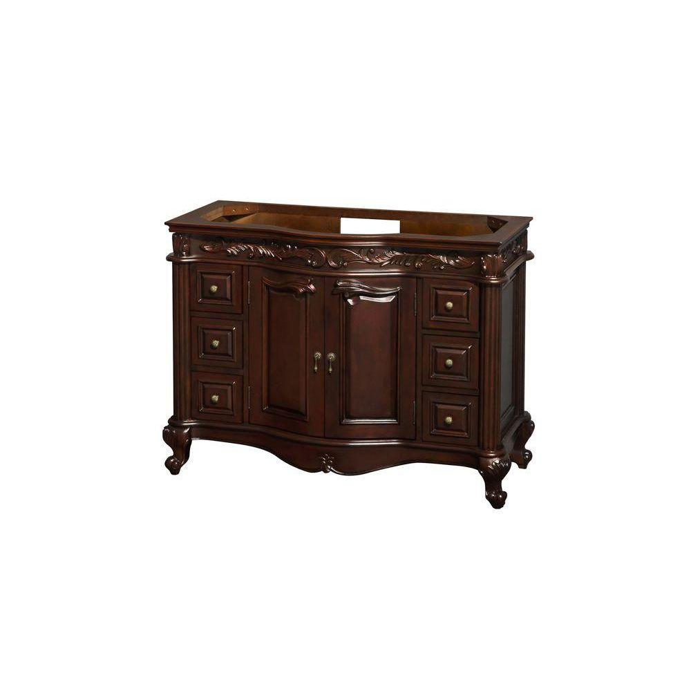 Wyndham Collection Edinburgh 48 in. Single Vanity Cabinet Only in Cherry