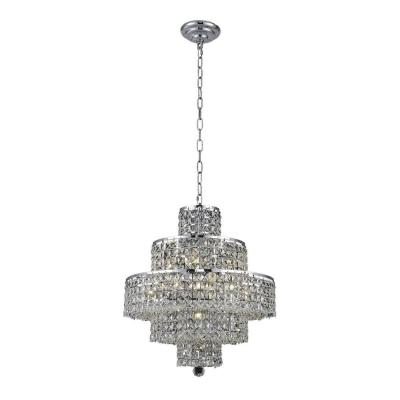 13-Light Chrome Chandelier with Clear Crystal