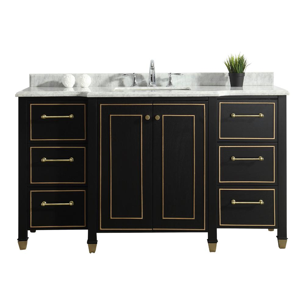 HomeDecoratorsCollection Home Decorators Collection Florence 60 in. W Vanity in Black with Marble Vanity Top in White with White Sink