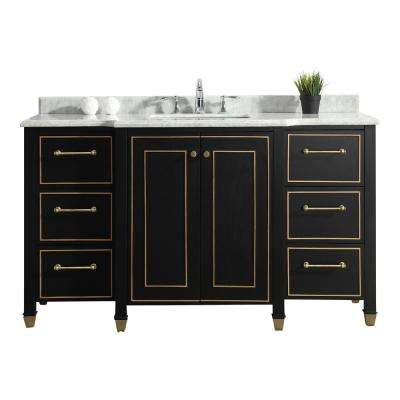Florence 60 in. W Vanity in Black with Marble Vanity Top in White with White Basin