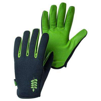 Garden Short Size 6 X-Small Fitted Short-Cuffed Gardening Gloves with PU Palm and Fingers in Black/Green
