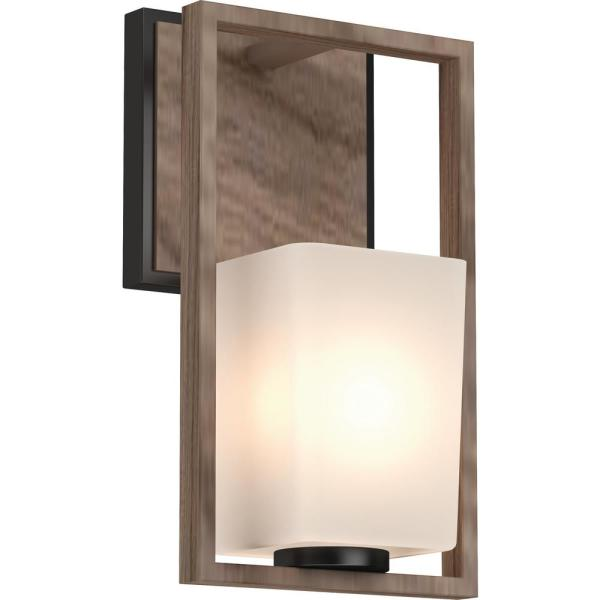 Paxton 1-Light 6 in. Pecan and Black Indoor Vanity Wall Sconce or Wall Mount with Frosted Glass Tapered Shade