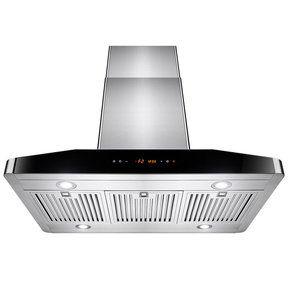 Akdy 36 In Convertible Kitchen Island Mount Range Hood Stainless Steel With Touch Controls Rh0126 The Home Depot