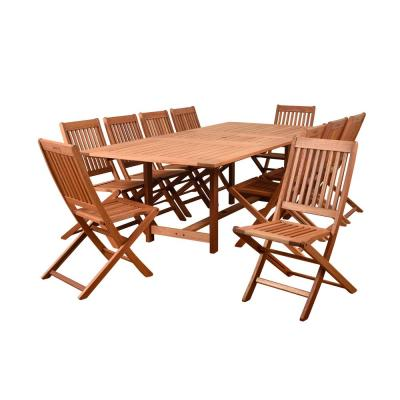 Coronado 11-Piece Wood Rectangular Outdoor Dining Set