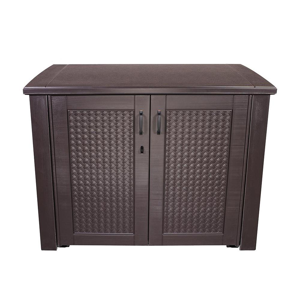 Patio Chic 123 Gal Resin Basket Weave Cabinet In Brown