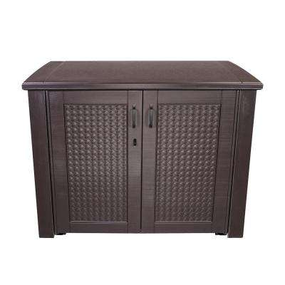 Patio Chic 123 Gal. Resin Basket Weave Patio Cabinet in Brown