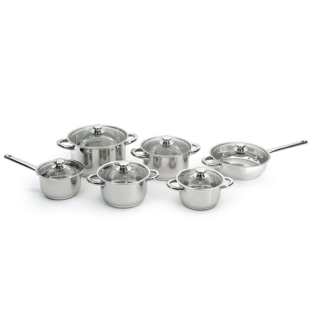 Essentials Stainless Steel 12-Piece Cookware Set with Glass Lids