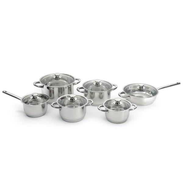 Essentials Stainless Steel 12-Piece Cookware Set with Glass Lids 1112100