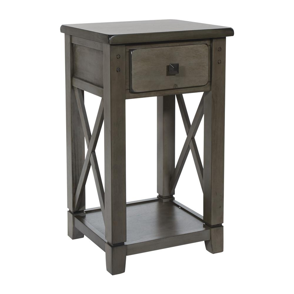 OSP Home Furnishings Hillsboro Grey Wash Side Table, Gray Wash OSP Home Furnishings Hillsboro Grey Wash Side Table, Gray Wash.
