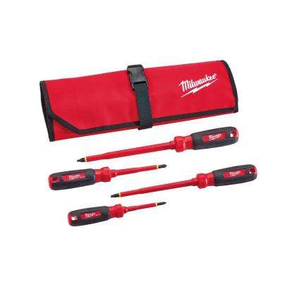 1000-Volt Insulated Screwdriver Set and Pouch (4-Piece)