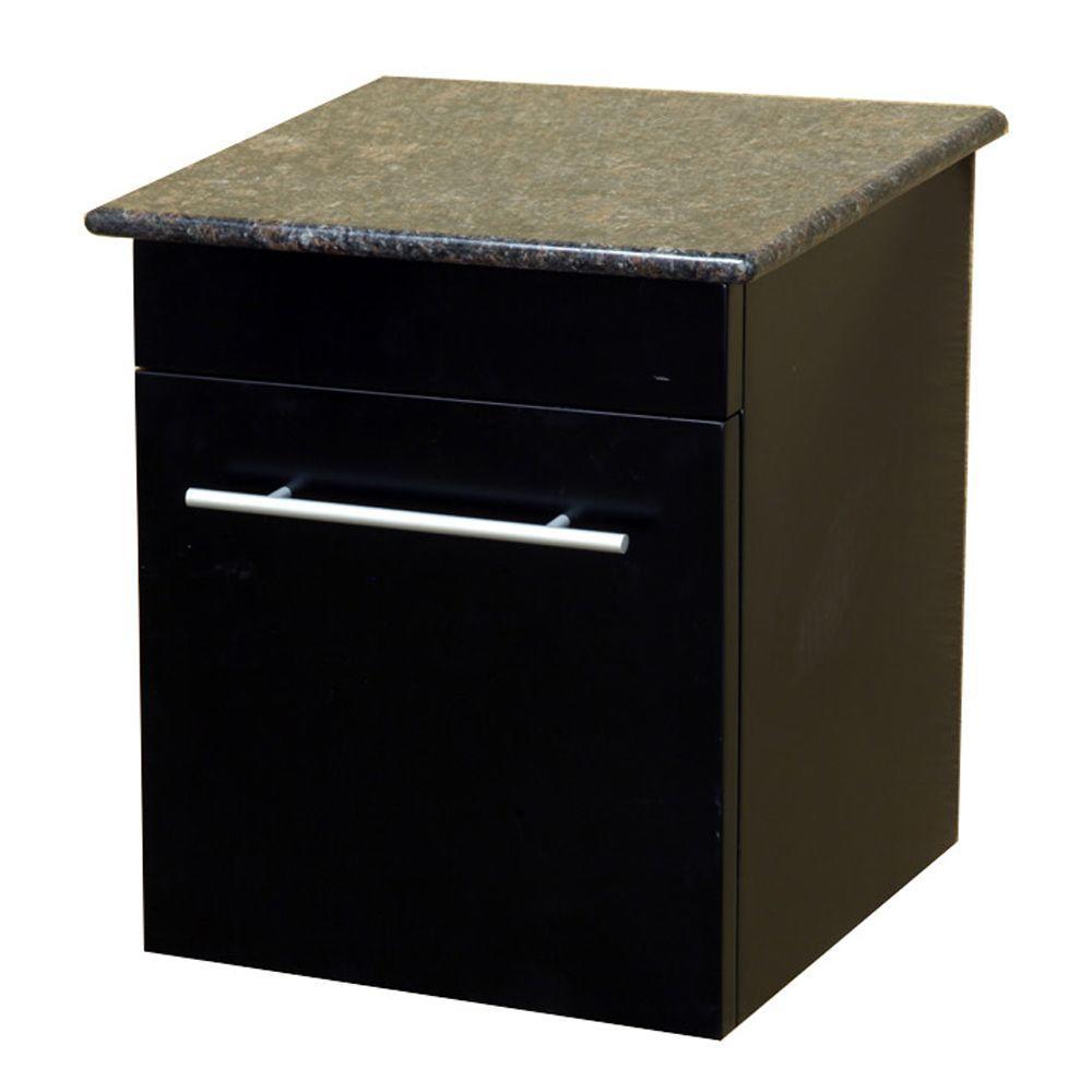 Bellaterra Home Norwalk 15 in. W x 17 in. H x 14 in. D Solid Wood Side Cabinet in Black