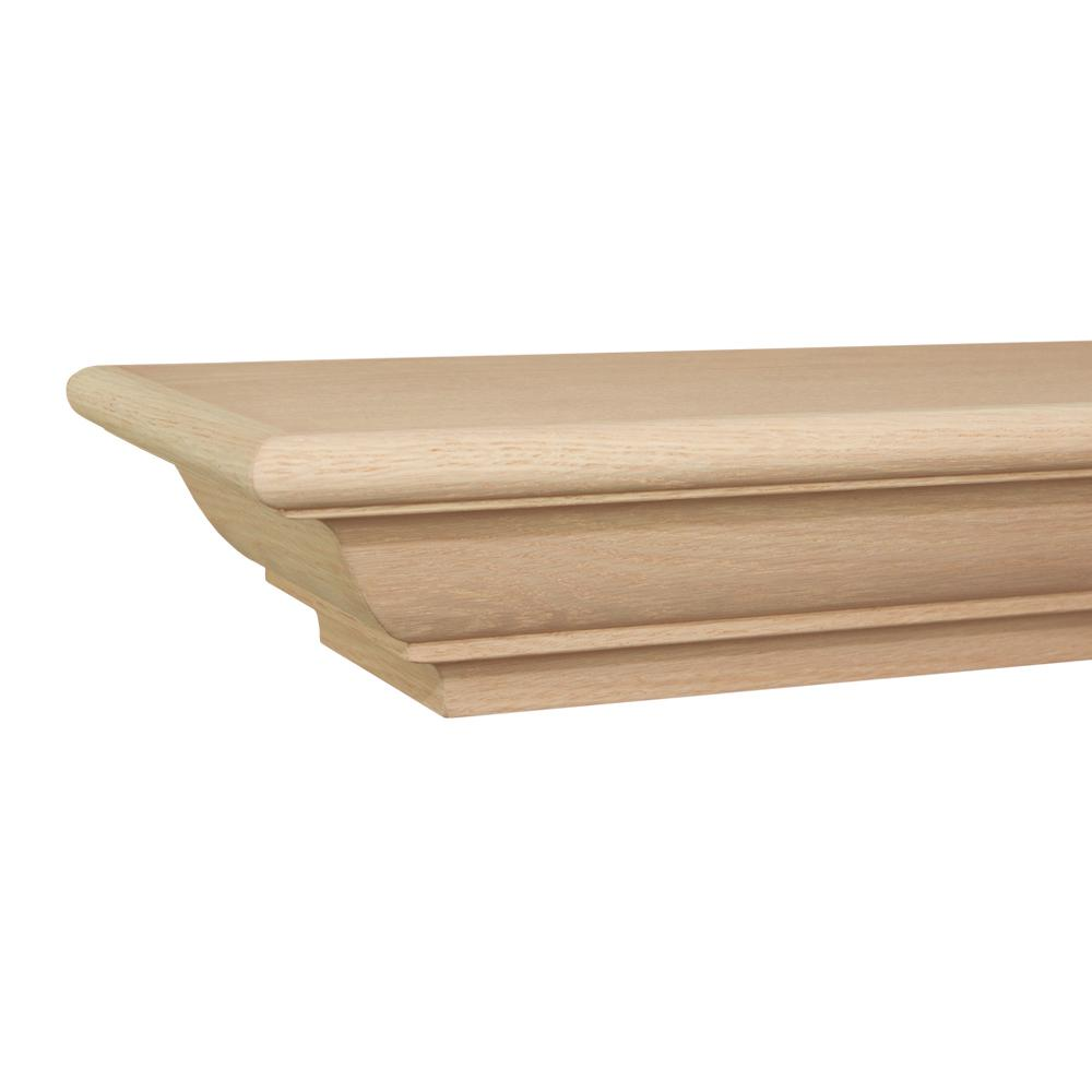 Builders Choice Traditional 6 ft. Oak Cap-Shelf Mantel
