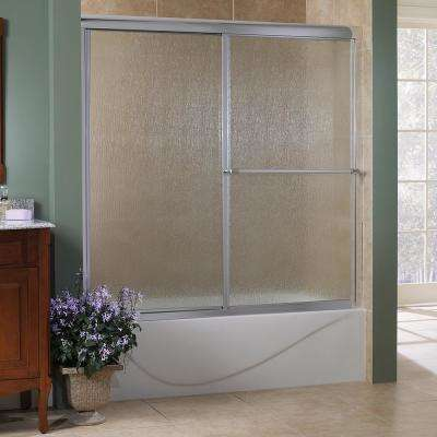 Tides 56 in. to 60 in. x 58 in. H Framed Sliding Tub Door in Silver with Rain Glass