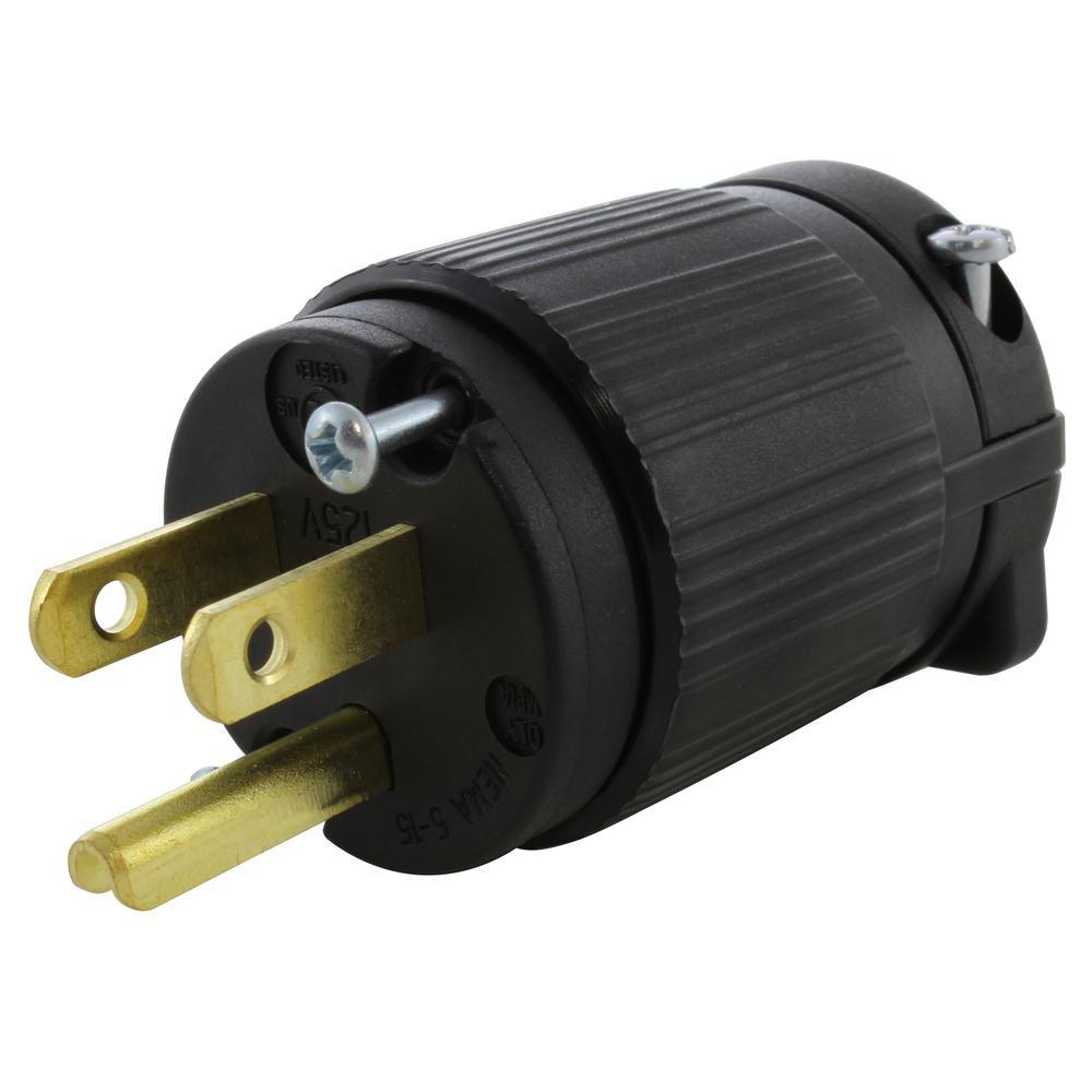 NEMA 15 Amp 125-Volt Straight-Blade Plug with UL C-UL Approval