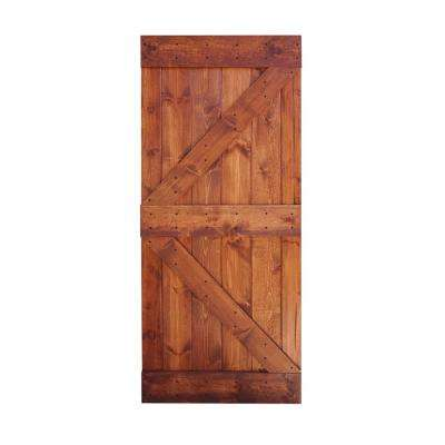 36 in. x 84 in. K Series DIY Red Walnut Finished Knotty Pine Wood Barn Door