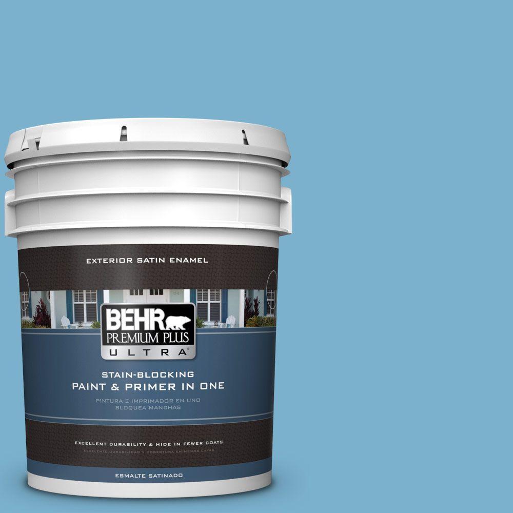 BEHR Premium Plus Ultra 5-gal. #M490-4 Frisky Blue Satin ...