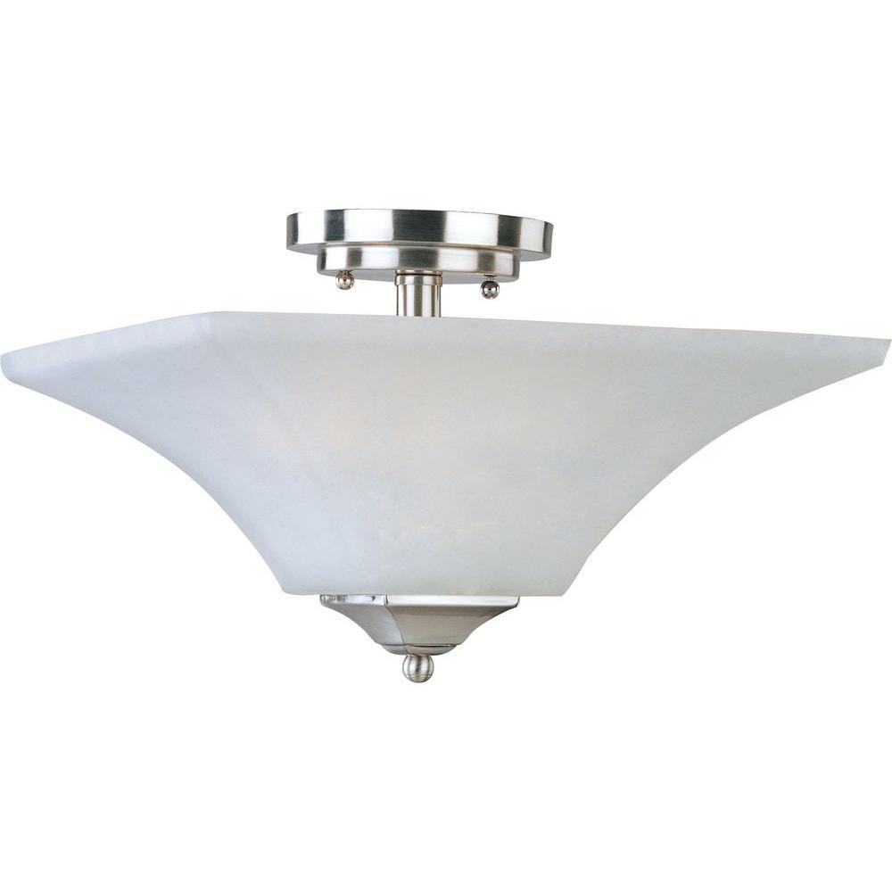 Aurora 2-Light Satin Nickel Semi-Flush Mount Light