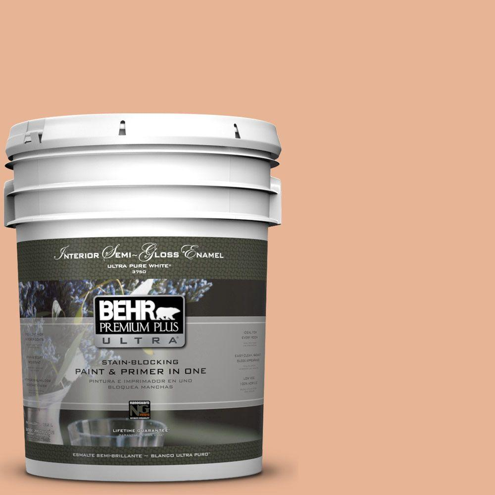 BEHR Premium Plus Ultra 5-gal. #M210-4 Peach Shortcake Semi-Gloss Enamel Interior Paint