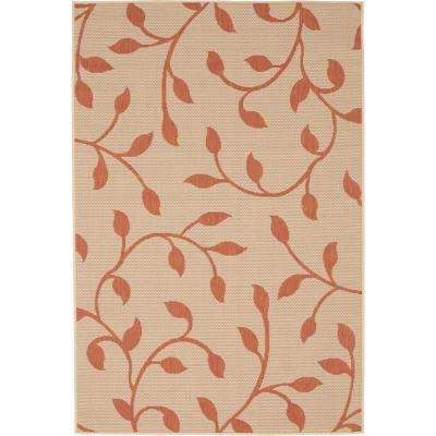 Outdoor Botanical Terracotta 4' 0 x 6' 0 Area Rug