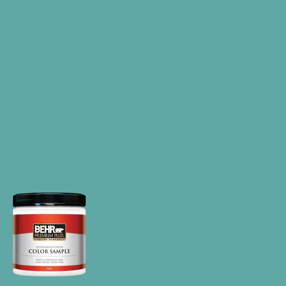 8 oz. #500D-5 Teal Zeal Interior/Exterior Paint Sample