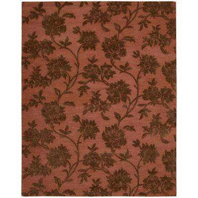 Floral Vines Rust/Brown 8 ft. x 11 ft. Area Rug