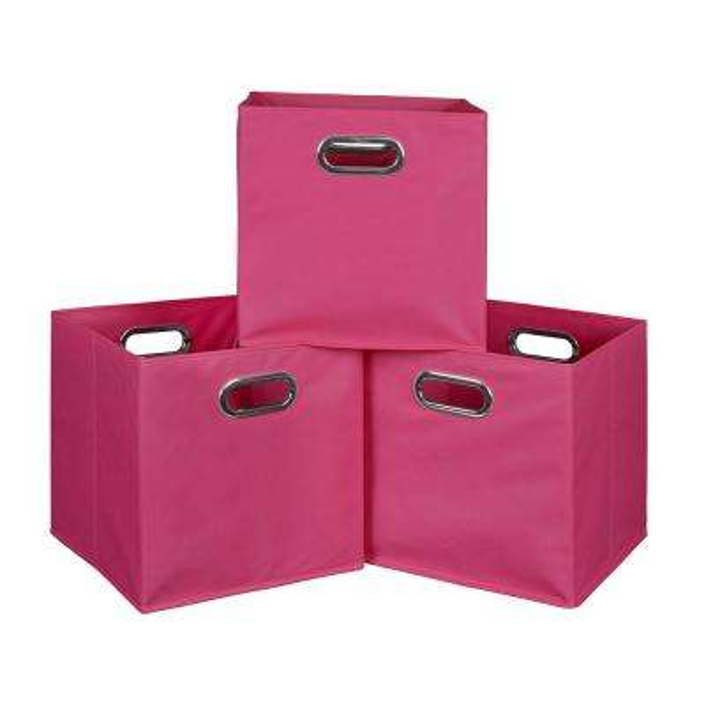 Cubo 12 in. x 12 in. Pink Foldable Fabric Bin (3-Pack)