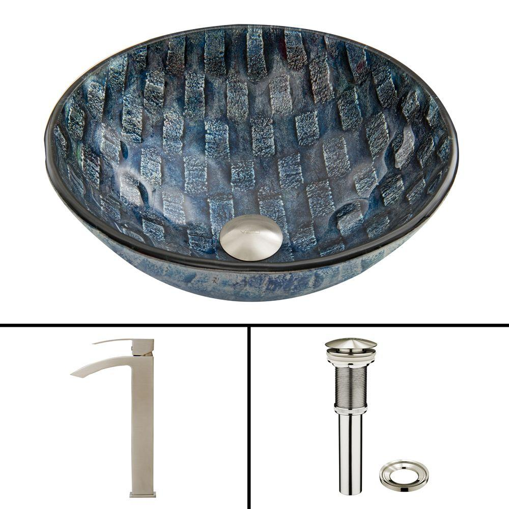 VIGO Glass Vessel Sink in Rio and Duris Faucet Set in Brushed Nickel