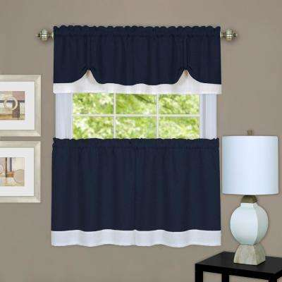 Darcy Navy/White Polyester Tier and Valance Curtain Set - 58 in. W x 24 in. L
