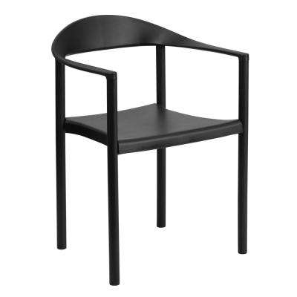 Hercules Series 1000 lb. Capacity Black Plastic Cafe Stack Chair