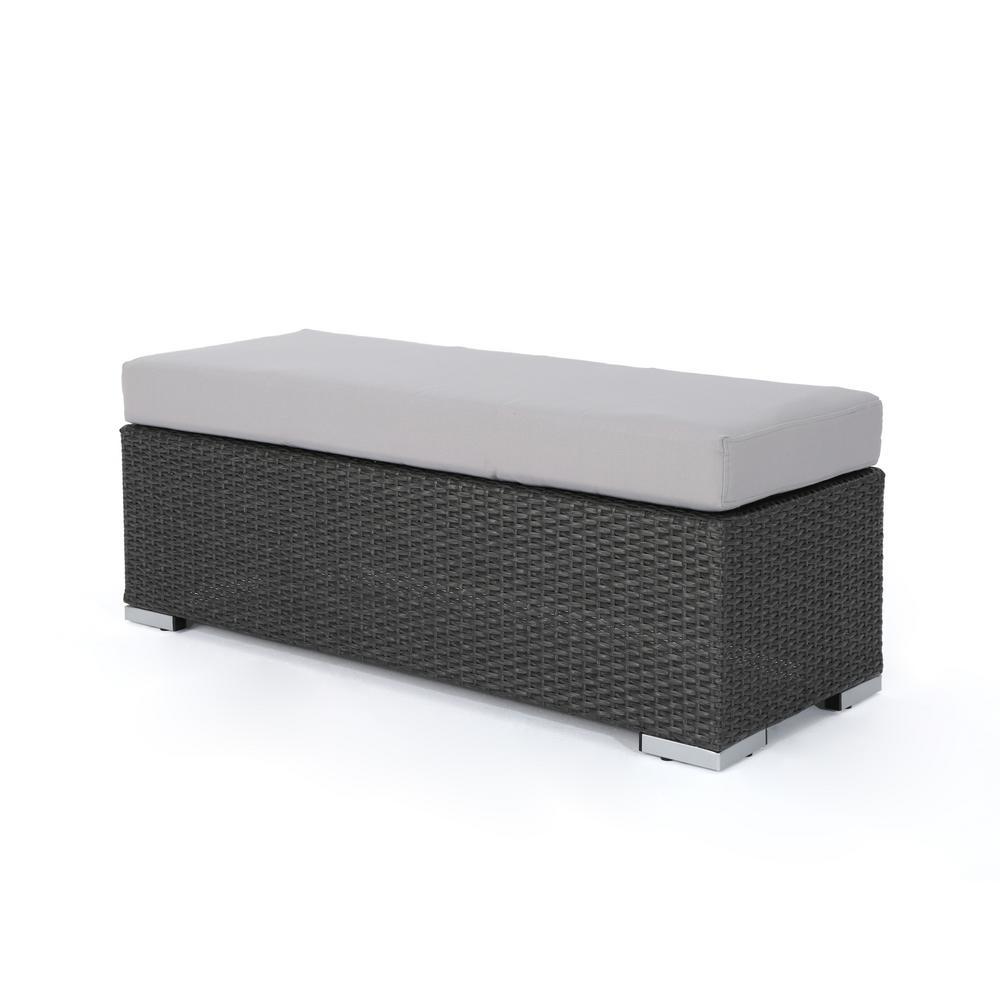 Noble House Nolan Grey Wicker Outdoor Bench with Silver Cushion