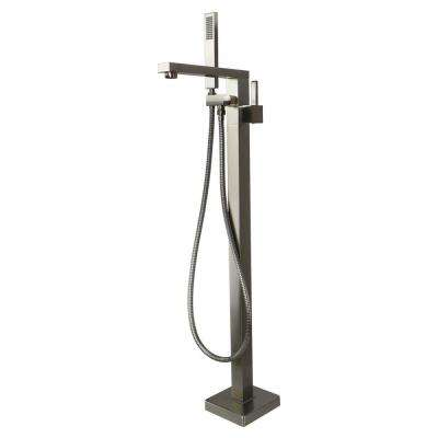 Ardell Single-Handle Freestanding Floor Mount Tub Faucet with Handshower in Brushed Nickel
