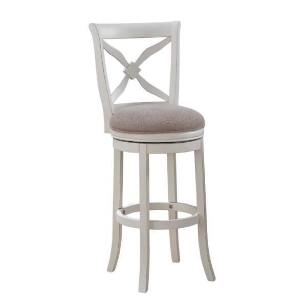 American Woodcrafters Accera 30 In Antique White Swivel Bar Stool B2 205 30f The Home Depot