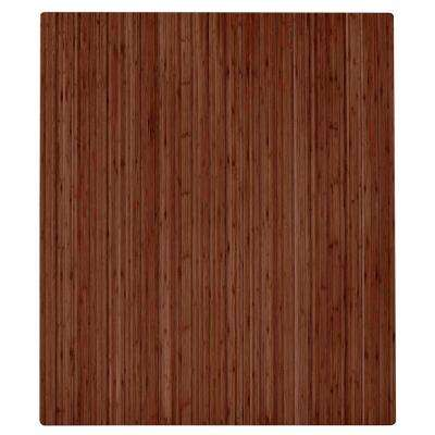 Walnut 42 in. x 48 in. Bamboo Roll-Up Chair Mat with No Lip
