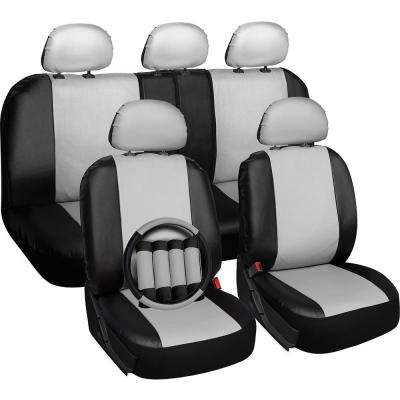 Polyurethane Seat Covers 21.5 in. L x 21 in. W x 31 in. H Seat Cover Set White and Black (17-Piece)