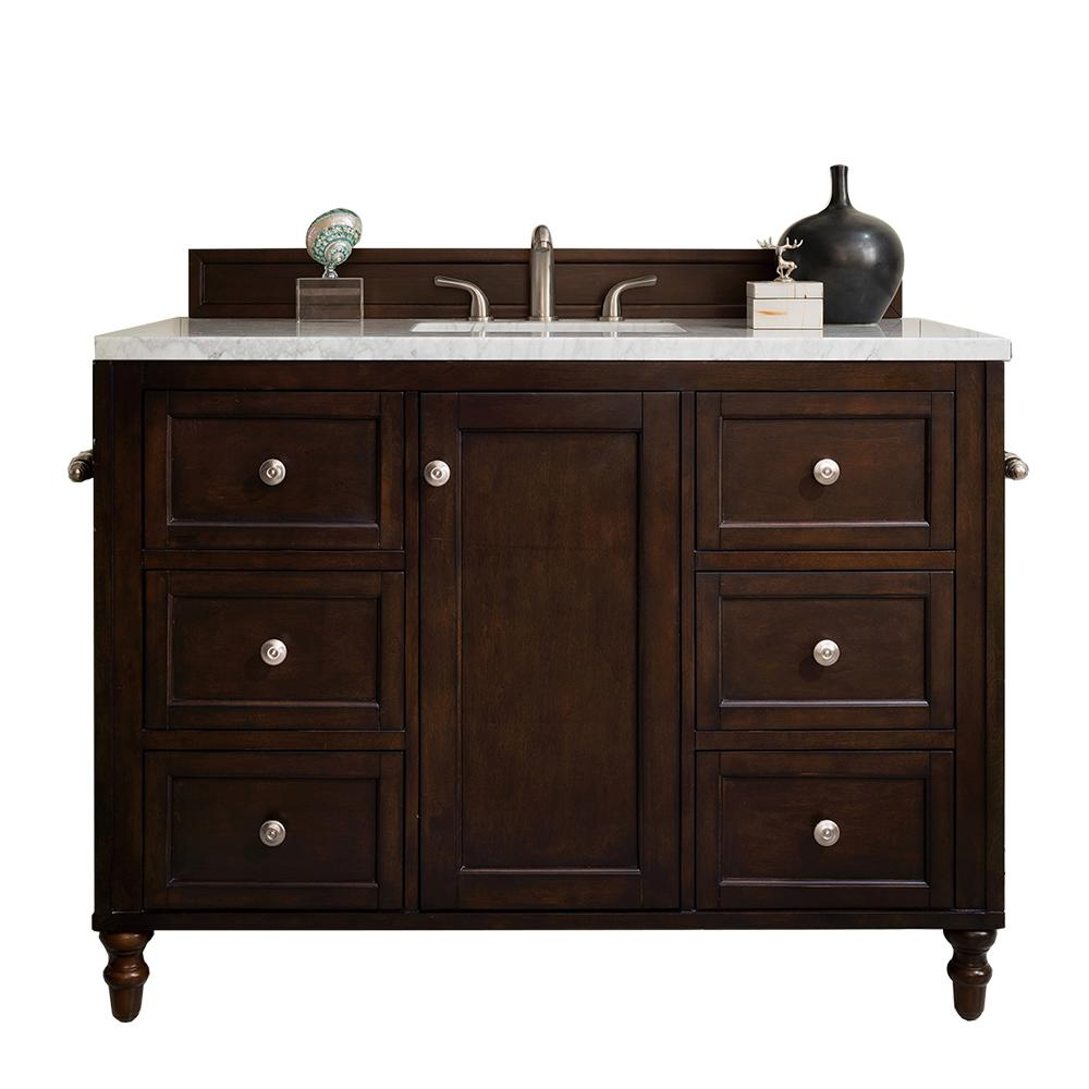 James Martin Vanities Copper Cove Encore 48 in. W Single Vanity in Burnished Mahogany with Soild Surface Vanity Top in Arctic with White Basin