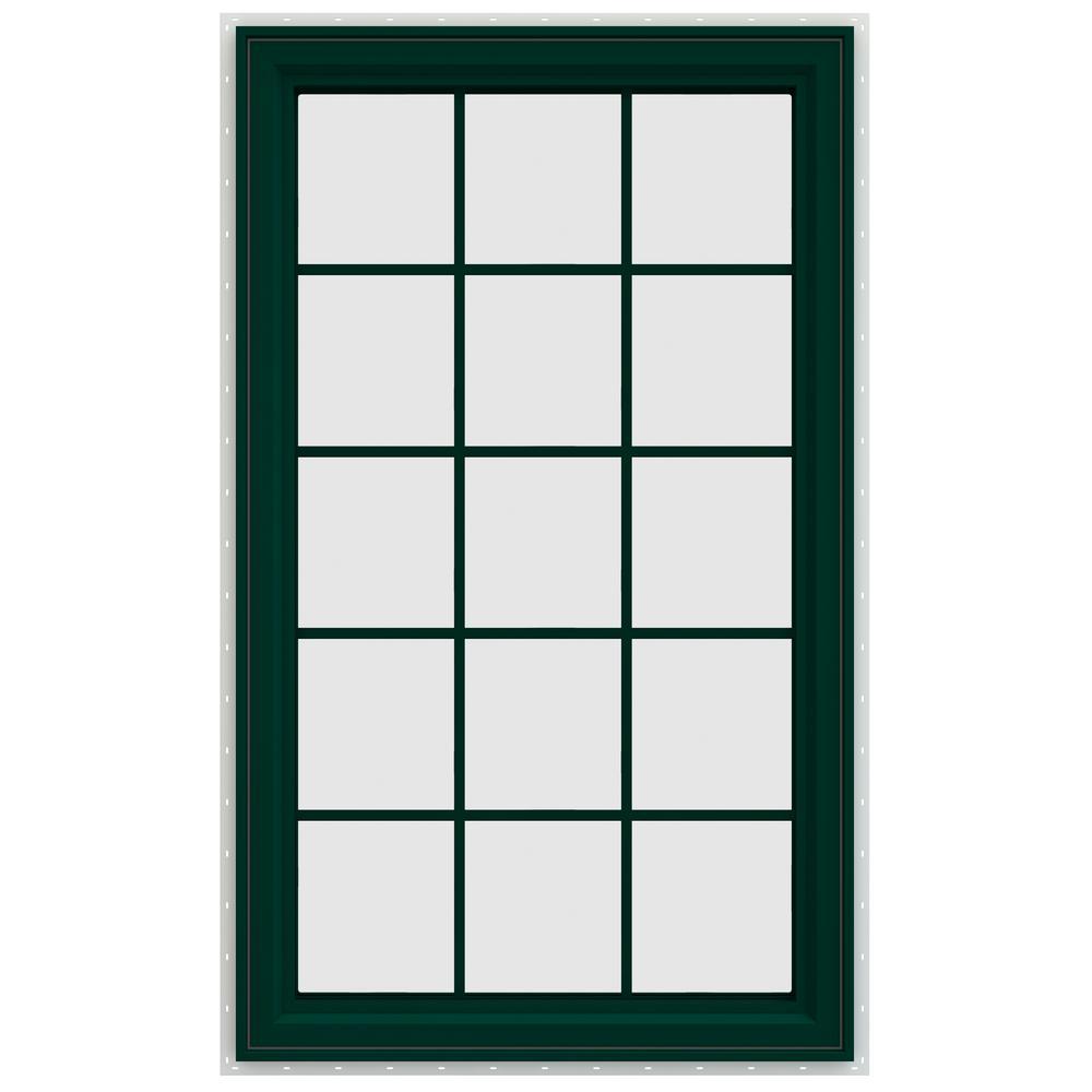 35.5 in. x 59.5 in. V-4500 Series Left-Hand Casement Vinyl Window with Grids - Green