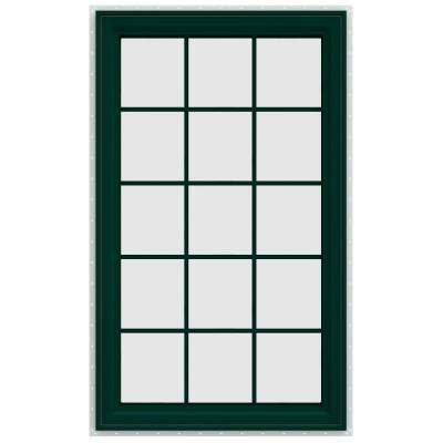 35.5 in. x 59.5 in. V-4500 Series Right-Hand Casement Vinyl Window with Grids - Green
