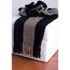 Deals on Rizzy Home 50 in. x 60 in. Black and Beige Throw