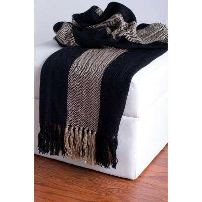 50 in. x 60 in. Black and Beige Throw