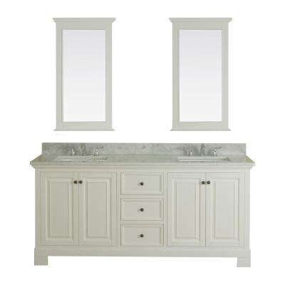 Richmond 72 in. W x 22 in. D Vanity in White with Marble Vanity Top in White with White Basin and Mirror